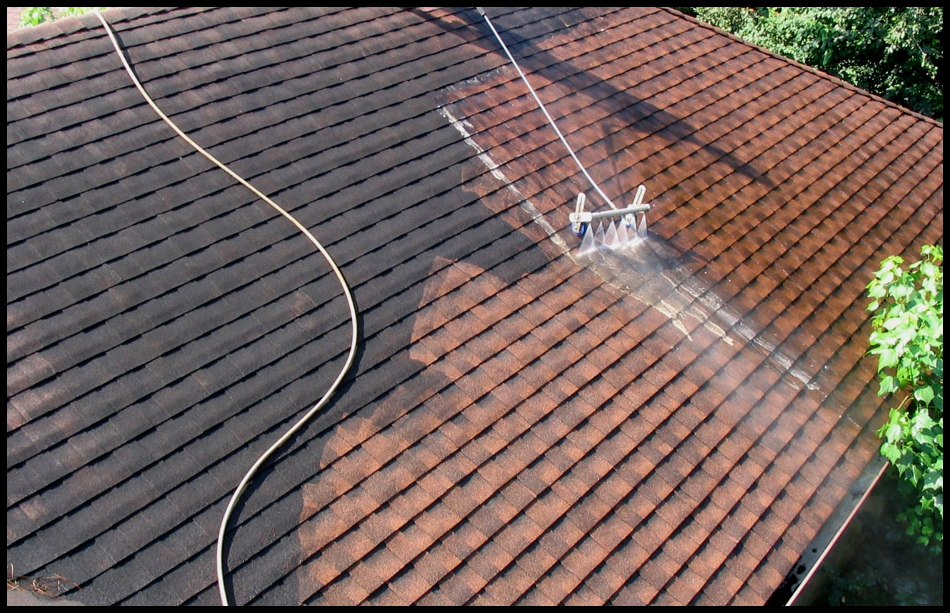 Man During Roof Cleaning Services